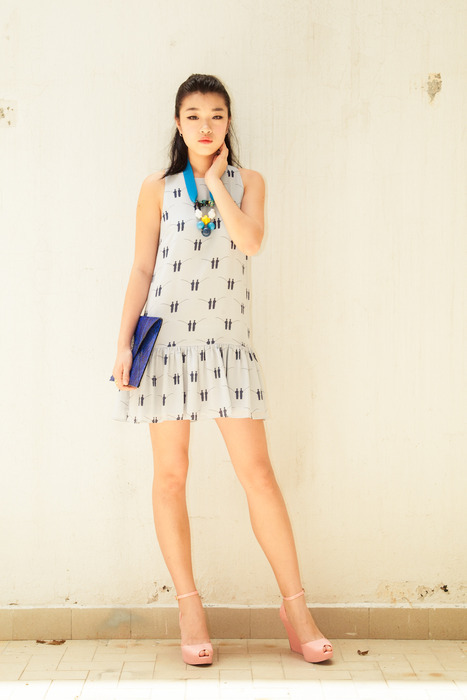 Cool Blue - Aijek Back to Back Fisherman prints drop waist dress, Tangram bonbons, Tezzo python clutch