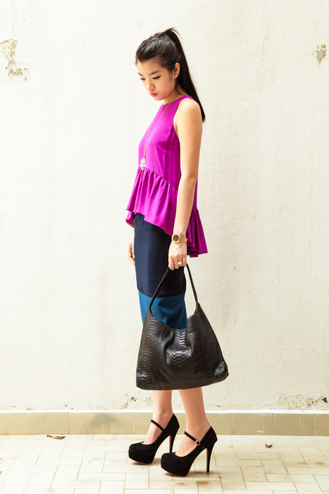 Aijek Peplum top with Granny's Day Out vintage necklace and Tezzo super soft python bag.