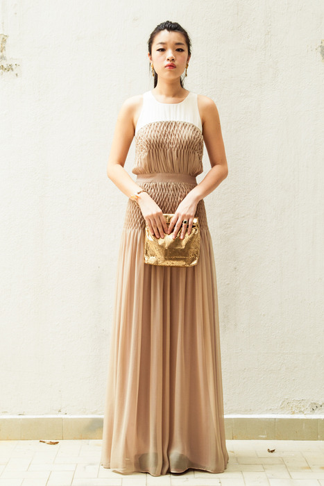 Aijek Long Maxi Dress matched with Marie Turnor gold clutch, a brass ring and Granny's Day Out vintage clip-on earrings.