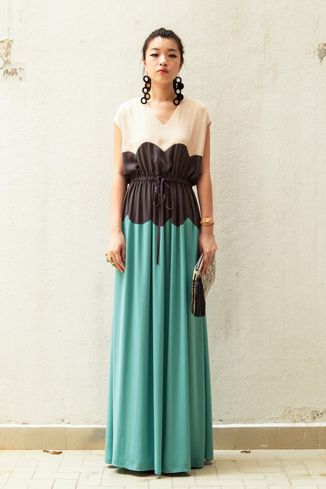 DEBB scallop maxi dress chicly paired with a DEBB clutch and a pair of Jennifer Loiselle earrings.